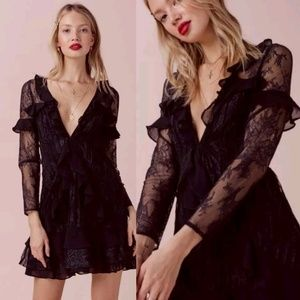 For Love & Lemons Daphne Ruffle Tiered Lace Mini D